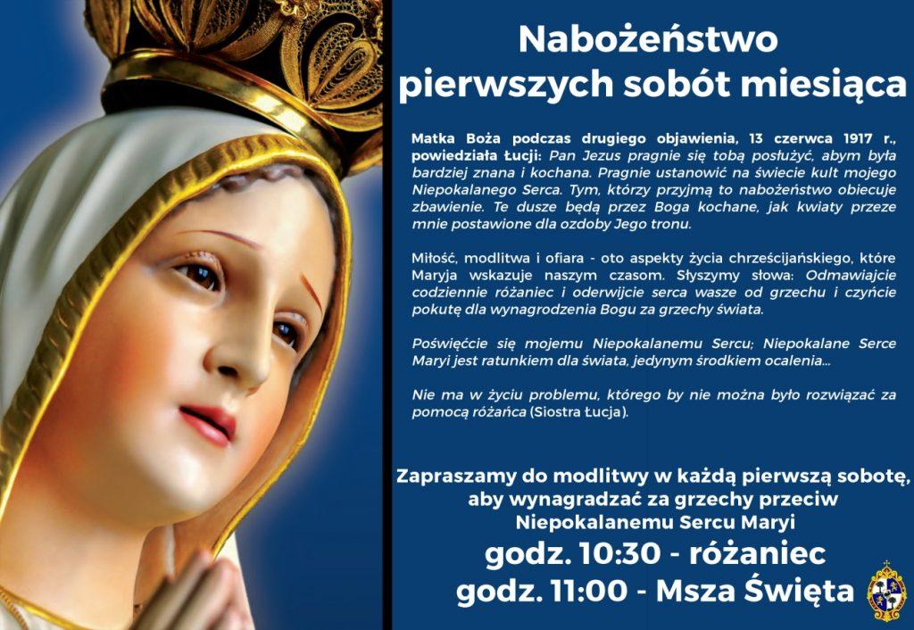 Baner informujący o Nabożeństwie pierwszych sobót miesiąca
